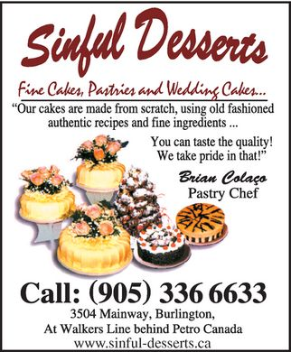 Sinful Desserts - Fine Cakes, Pastries and Wedding Cakes -Click Here to visit our website!