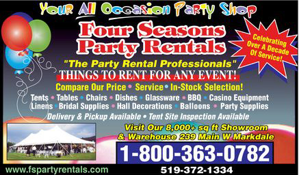 Four Seasons Party Rentals - 239 Main West, Markdale - 519-372-1334 , 1-800-363-0782 - Wedding / Event Tents for rent ,Wedding Decor,  Tent, Party and Linen Rentals - Click here to visit our website!
