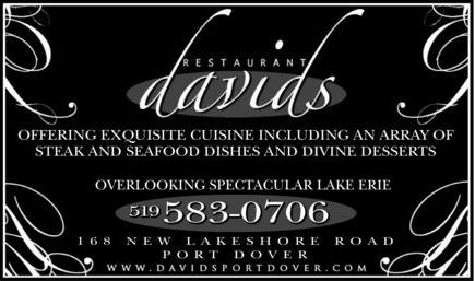 David's Restaurant - Offering Exquisite Cuisine including an array of Steak and Seafood dishes and Divine desserts. Casual upscale fine dining overlooking spectacular Lake Erie