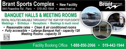 Brant Sports Complex - 944 Powerline Road, Paris - 519-442-1944 - Click here to visit our website!