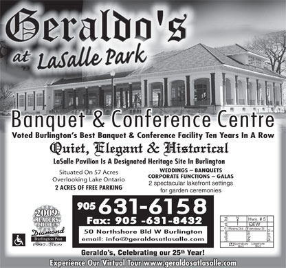 Geraldo's at LaSalle Park Banquet and Conference Centre - 50 Northshore Blvd.W., Burlington, Capacity: 50 - 400 - 905-631-6158 - Click Here to visit our website!