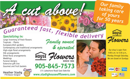 House Of Flowers - 905-845-7573 - Click Here to visit our website!