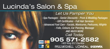 Lucinda's Salon and Spa - 1403 King St., Courtice, ON - 905-571-2582
