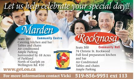 Marden Community Centre , Rockmosa Community Hall - Call 519-856-9951 ext-113 or click here to visit our website!