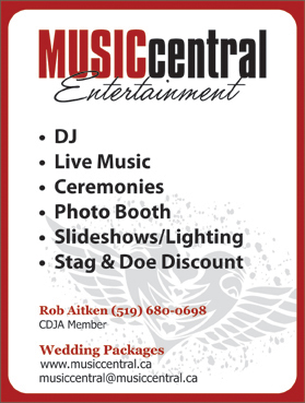 Music Central Entertainment South-Western Ontario�s Wedding and Corporate DJ SpecialistsCeremony Music | PA Systems | Dinner Music- Karaoke Packages to keep guests involved- Additional lighting effects to jazz up the dance floor- Vocalist background music available- The DJ can assist with or handle Master of Ceremony duties if requiredPhone: 519-680-0698, 1-888-537-6511
