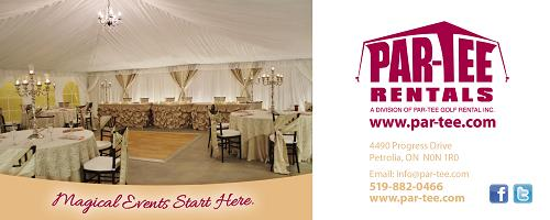 Par-Tee Rentals. Largest selection of tents, tables, chairs, speciality linens, chair covers and full hall decor. 4490 Progress Drive, Petrolia, ON, -  519-882-0466 - Click here to visit our website!