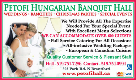 Petofi Hungarian Hall - 519-754-0994 - Click here to visit our website!