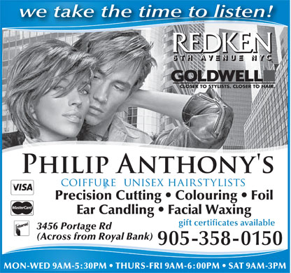 Philip Anthony's Coiffure - 3456 Portage Road, Niagara Falls, ON, Phone: 905-358-0150