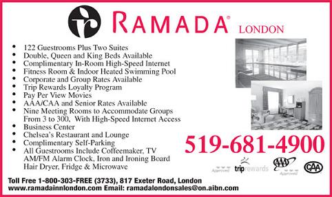 Ramada London - 817 Exeter Road - London, Ontario - 519-681-4900 ~ Click here to visit our website!