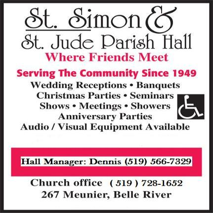 Saint Simon and Saint Jude Parish Hall - 267 Meunier, Belle River, ON - 519-728-1652 - Click here to visit our website!