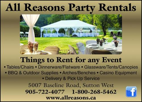All Reasons Party Rentals - 905-722-4077 - Click here to visit our website!