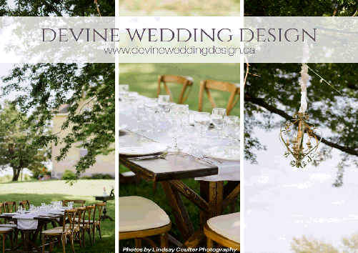 Devine Wedding Design and Event Planning - 519-348-4191 - Click here to visit our website! - Ceiling Canopies | Backdrops Decorated Tables of Importance, Centerpieces | Entranceways, Linens, Chair Covers for rent, Dinnerware and Glassware rentals