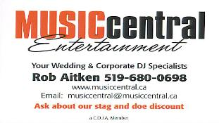 Music Central EntertainmentSouth-Western Ontario�sWedding and Corporate DJ SpecialistsCeremony Music | PA Systems | Dinner Music- Karaoke Packages to keep guests involved- Additional lighting effects to jazz up the dance floor- Vocalist background music available- The DJ can assist with or handle Master of Ceremony duties if requiredPhone: 519-680-0698, 1-888-537-6511