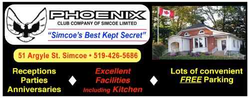 Phoenix Club - Excellent Facilities with kitchen for Receptions ~ Parties ~ Anniversaries , 51 Argyle St., Simcoe, 519-426-5686