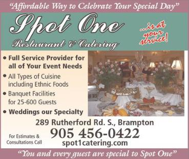 Spot One Restaurant and Catering - Banquet Facilities for 25 - 600 Guests. Full service provider of all your event needs. Weddings are our specialty!