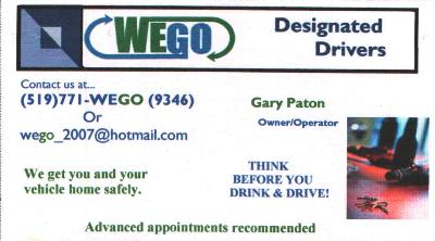 WEGO Designated Drivers - We get you and your vehicle home safely. 519-771-9346