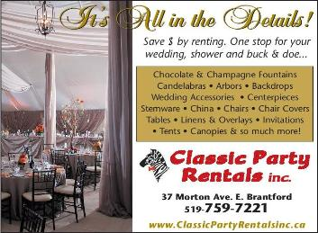 Classic Party Rentals Inc. 37 Morton Ave East., Brantford,519-759-7221 - Click here to visit our Website!