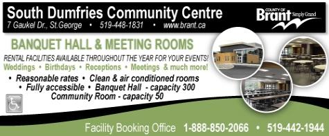 South Dumfries Community Centre - 7 Gaukel St., St George - 519-448-1831 - Click here to visit our website!